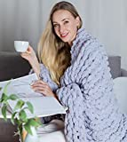 DIRUNEN Chunky Knit Luxury Throw Blanket Large Cable Knitted Premium Soft Cozy Chenille Bulky Blankets for Cuddling up in Bed, on The Couch or Sofa Gray 40'×40'
