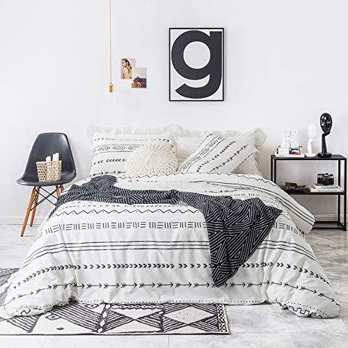 YuHeGuoJi 3 Pieces Duvet Cover Set 100% Cotton King Size White Aztec Bedding Set 1 Geometric Arrow Pattern Duvet Cover with Zipper Ties 2 Pillowcases Hotel Quality Soft Lightweight Comfortable