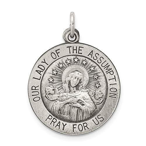 Colgante de plata de ley maciza envejecida con medalla de la Virgen de la Asunción (longitud 26 mm, ancho 19 mm)