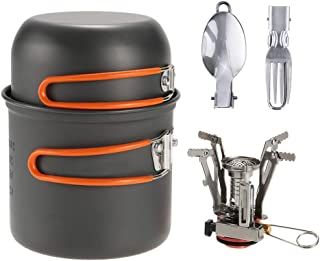 Outdoor Camping Hiking Cookware with Mini Camping Piezoelectric Ignition Stove Backpacking Cooking Picnic Pot Set Cook Set with Fork and Spoon