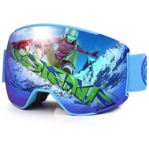 LEMEGO Ski Goggles PRO 90S Super Anti-Fog Ski Snowboard Interchangeable Lens 100% UV400 Protection Snow Goggles for Men&Women