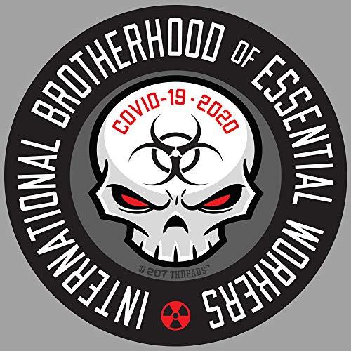 "10 PACK 2"" International Brotherhood of Essential Workers Hard Hat Sticker Pack Nuclear GRAY Toxic Hazard Virus Sticker Quarantine Enforcement Social Distancing 2"" Inch Circle Decal Set"