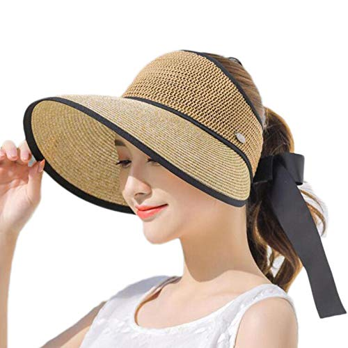 Cappelli Cappello da Sole Cappelli per Donna A Tesa Larga con Fiocco Cappello da Sole per Spiaggia Cappello di Paglia All'Aperto Visiera da Tennis Femminile Cachi