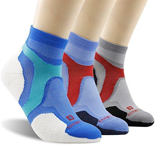 Running Socks, ZEALWOOD Men Cushion Ankle Socks,Low Cut Summer Socks Mountain Biking Socks Ankle Athletic Socks Wool Workout Training Socks Cycling Socks for Men & Women Multicoloured, Medium,3 Pairs