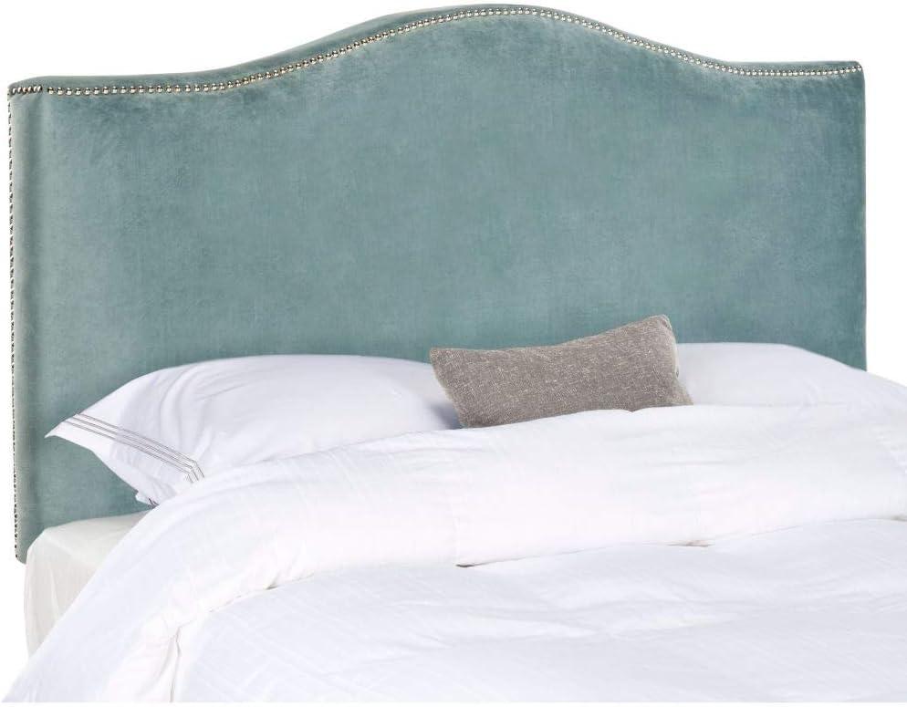 Safavieh Jeneve Wedgwood safety Max 86% OFF Blue Velvet Upholstered Headboard Sil -
