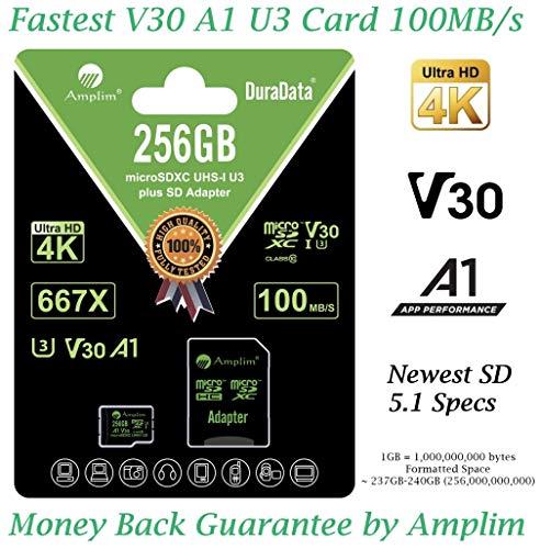 256GB Micro SD Card Plus Adapter. Amplim MicroSD SDXC Memory Card Pack (100MB/s 667X V30 A1 Class 10 U3 UHS-I) 256 GB MicroSDXC TF Card Flash - Cell Phone, Drone, Camera, GoPro, Fire, Nintendo, DJI