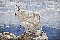 コロラド州9022372の岩が多い峰の子供と一緒にHDマウンテンヤギ(大人52x38cmのプレミアム1000ピースジグソーパズル)