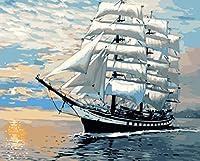 油絵 数字キットによる デジタル インテリア キャンバスの油絵子供 ホーム オフィス装飾 40x50センチ-白い帆船_フレームレス