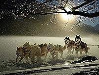 ChuYuszb 大人のためのパズル1000ピース、ティーンエイジャーと大人に適した犬シベリアンハスキー冬の冬の雪木製パズルユニークな家の装飾とギフト
