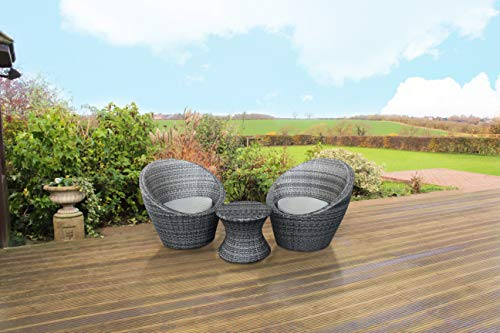 Kingfisher Rattan Effect 3pc Table and 2 Chairs Bistro Set - (Grey)