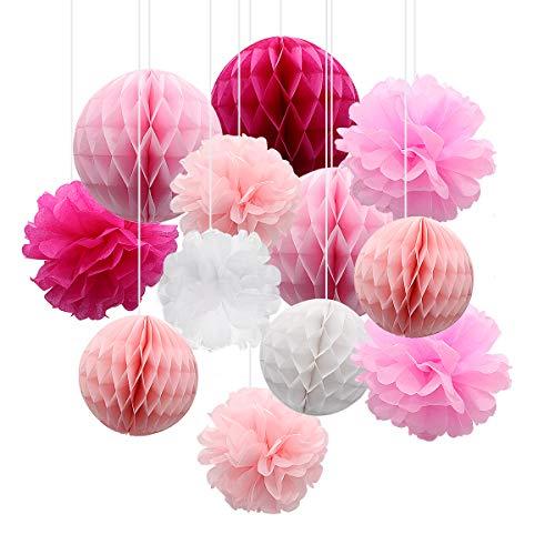 12-teiliges Pompon-Ballset aus Papier, Hochzeitsdekoration, Pompon-Bienenwaben aus Seidenpapier, Ballset aus Papier mit Blumen für die Geburtstagsfeier (Rosa)