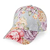 ZLYC Women Fashion Floral Print Baseball Cap Hawaiian Adjustable Snapback Dad Hat (Pink)