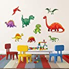 decalmile Colorful Dinosaur Wall Stickers Kids Wall Decals Baby Nursery Childrens Bedroom Wall Decor