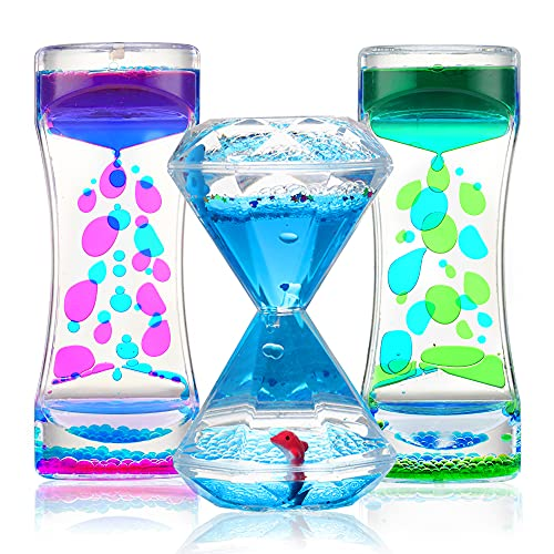 Sensory Liquid Motion Timer Bubbler Toy 3 Pcs. Set - Best Fidget Tool for Kids and Adults for Stress...