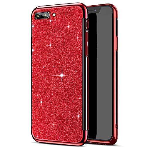 Compatible avec Huawei Honor 10 Coque,Placage Paillettes Brillante Bling Glitter de Luxeu Strass Coque Silicone TPU Souple Ultra-mince Anti Choc Bumper Housse Etui Protection Huawei Honor 10,Rouge