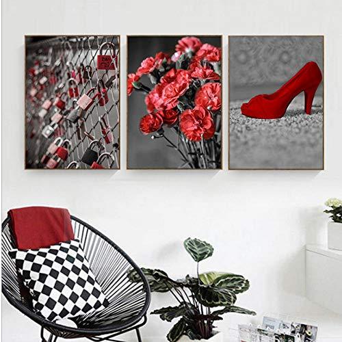 Grijs Bloem Poster Home Decor Canvas Schilderij Muur Kunst Print Rood Hoog/Hakken Schoenen Iron Lock Poster voor Woonkamer Decor/42X60Cmx3 Frameless