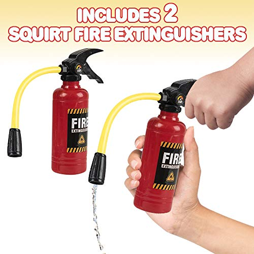ArtCreativity 7 Inch Fire Extinguisher Squirt Toy - Set of 2 - Water Gun with Realistic Design - Fun Outdoor Summer Toys for Boys and Girls - Great Fireman Toy for Children, Novelty Gag Gift Item
