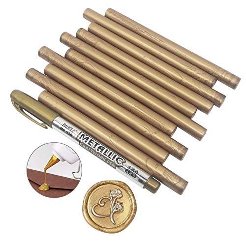 Varac - Confezione da 10 bastoncini di ceralacca per lettere vintage con sigillo di cera per colla per inviti di nozze, buste e biglietti di auguri, con una penna metallica color oro (oro anticato)