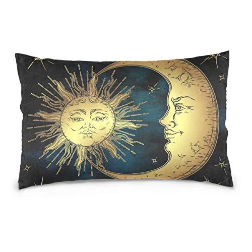 Linomo, federa per cuscino, 40,6 x 61 cm, con sole, luna e stelle, copricuscino, federa decorativa per divano, letto casa, Cotone, Multicolore, 50 x 75 cm