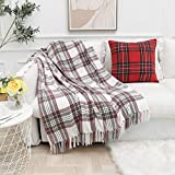 Muse Dream Grey and Red Chenille Plaid Throw Blanket Gifts for Her/Him Classic Buffalo Check Soft Beautiful Blanket with Tassels for Couch Bed Indoor&Outdoor All-Season Use Gift 50' Wx60 L