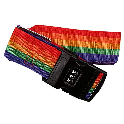 WanYangg Correas para Maletas, Correa Equipaje Resistente Cruzar Ajustable Candado De Combinación TSA Cinta para Viajes Seguridad Luggage Straps Color Arcoiris 420 * 5cm