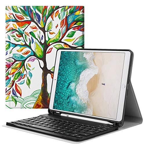 MoKo Keyboard Case Fit Apple New iPad Air (3rd Generation) 10.5' 2019/iPad Pro 10.5 2017 with Apple Pencil Holder - Wireless Keyboard Cover Case for iPad Air 2019/iPad Pro 10.5 2017 - Lucky Tree