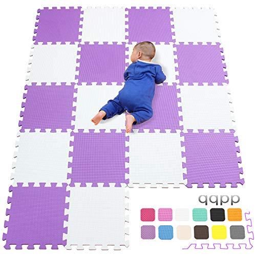 qqpp Alfombra Puzzle para Niños Bebe Infantil - Suelo de Goma EVA Suave. 18 Piezas (30*30*1cm), Blanco & Morado.QQC-AKb18N