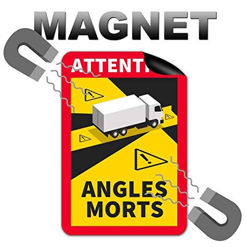 3 Stück Attention Angles Morts Magnetschilder 25 x 17 cm Magnet für LKW und Wohnwagen Warntafel Hinweiszeichen Schild Frankreich mit UV Schutz