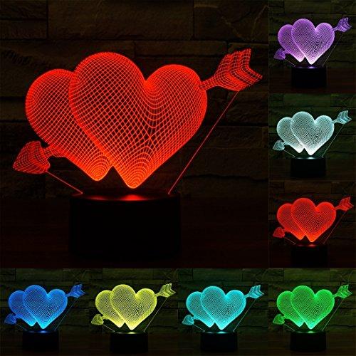 L-sister Tamaño del Producto: 15.5 x 19.2 x 8,7 Cm, Flecha a través del Estilo del corazón Cargando USB 7 Color Decoloración Originalmente lámpara estéreo Visual 3D Control de Interruptor
