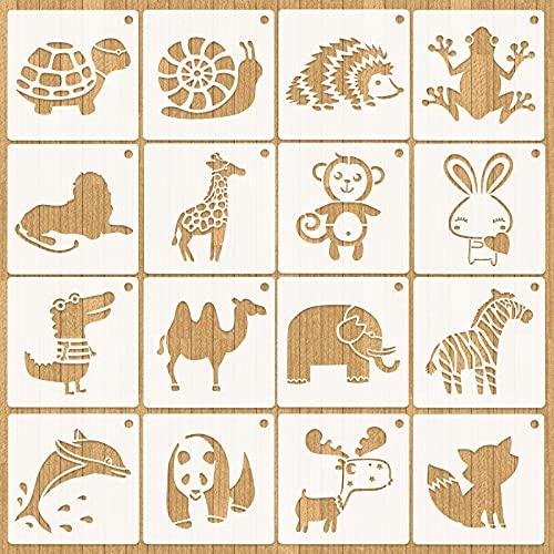 HOWAF 16 Stück Tiermalerei Schablone,Zeichenschablonen Malschablonen aus Kunststoff,Stencil Schablonen Wiederverwendbar für Kinder Kreation, Scrapbooking, DIY Zeichnungsvorlage,13 * 13cm