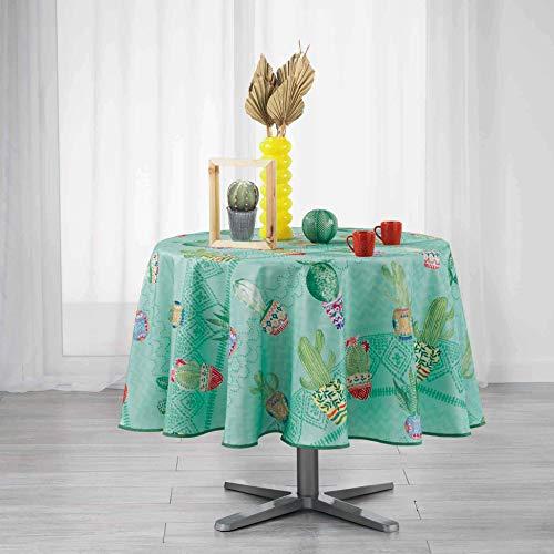 Nappe ronde 180 cm Melo Cactus bleu