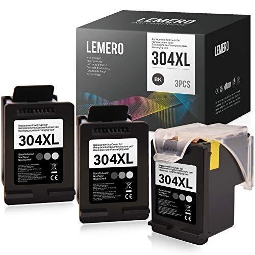 3 LEMERO Rigenerata Cartucce d'inchiostro per HP 304XL 304 XL Nero per HP DeskJet 2622 2633 2634 3720 3730 3733 3735 3750 3760 3762 3764AIO Envy 5010 5020 5030 5032AIO AMP 130