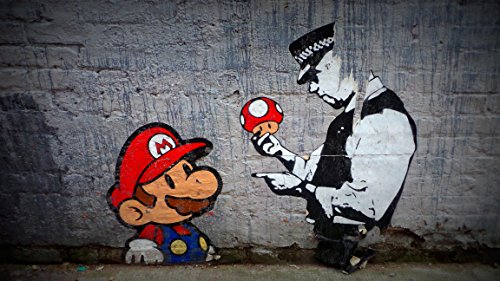 MBPOSTERS Banksy Street Art Mario, Police Poster, Plakat in Sizes