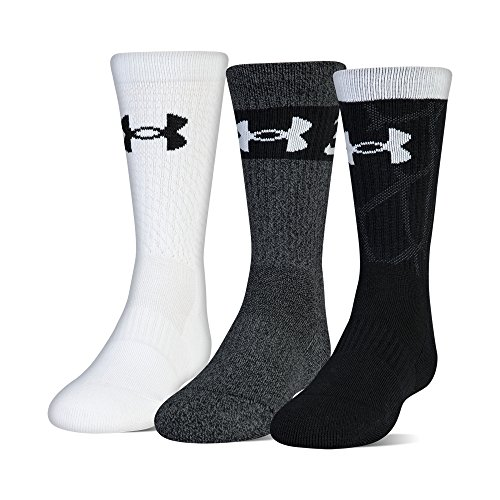 Under Armour Youth Phenom Curry Crew Socks, 3-Pairs, Black Assorted, Shoe Size: Youth 13.5K-4Y