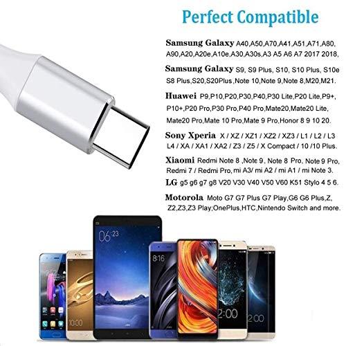 USB C Kabel,USB C Ladekabel [2Pack 1M+2M] Nylon 3A Fast Charge Ladekabel Typ C Schnellladekabel für Samsung Galaxy A40 A50 A70 A41 A51 A71 A20e A20 A21s A30s S20 FE S8+ S9 S10 M21,Huawei P20 P30,Redmi
