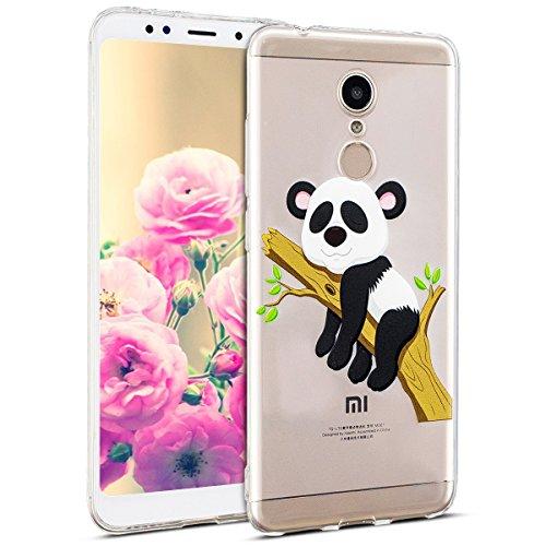 Uposao Kompatibel mit Hülle Xiaomi Redmi 5 Handyhüllen Transparent Weiche Silikon Durchsichtig TPU Kratzfest Schutzhülle Crystal Clear Ultra Dünn Silikonhülle Handytasche,Lustig Panda Baum