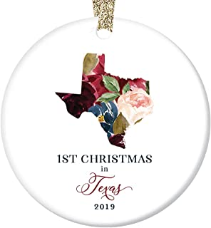 Christmas Holiday 2019 Ornament Collectible First 1st Season Living in TEXAS U.S.A. Ceramic Keepsake Present for Relatives Friends Beautiful Floral 3