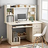 """Leconte Computer Desk with Hutch, 47"""" Writing Study Table + Book and Storage..."""
