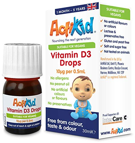 ActiKid Vitamin D3 Drops 30ml for Newborn Babies, Infants and Children, (a Vegan, Sugar Free, Preservative Free, no Allergens, Baby, Vitamin D Supplement) - Immunity Boost