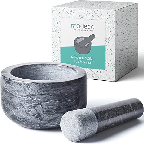 madeco - Edler Marmor Mörser mit Stößel Ø 14 cm - Perfekt geeignet für Gewürze, Kräuter & Nüsse - Steinmörser Set mit praktischem Antirutsch-Pad
