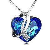 Collar para mujer con colgante de corazón azul de plata de ley 925 con cristales Swarovski