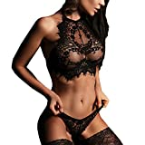 HOOUDO Women Sexy Lingerie Lace Flowers Solid Push Up Top Bra Pants Babydoll G String Thong Sleepwear Erotic Underwear Set(M,Black)