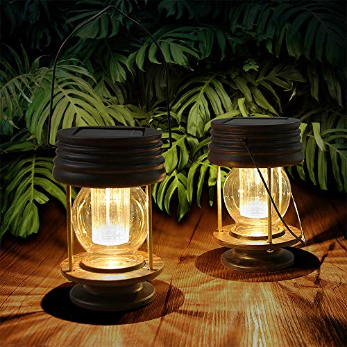 Hanging Solar Lights Outdoor - 2 Pack Solar Powered Waterproof Landscape Lanterns with Retro Design for Patio, Yard, Garden and Pathway Decoration (Warm Light)
