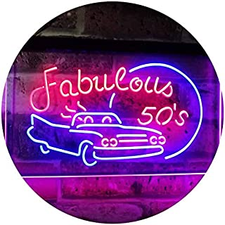 The Fabulous 50s Sport Car Man Cave Bar Display Dual Color LED看板 ネオンプレート サイン 標識 赤色 + 青色 400 x 300mm st6s43-i3075-rb
