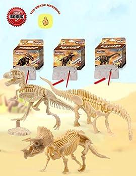 Dinosaur Excavation Kits For Kids,Dino Dig Kits T-Rex,Triceratops and Diplodocus,Dinosaur Fossil Excavation Kits ,Children s Popular Science Education Toys - Dinosaur DIY Toys(Three-piece suit)