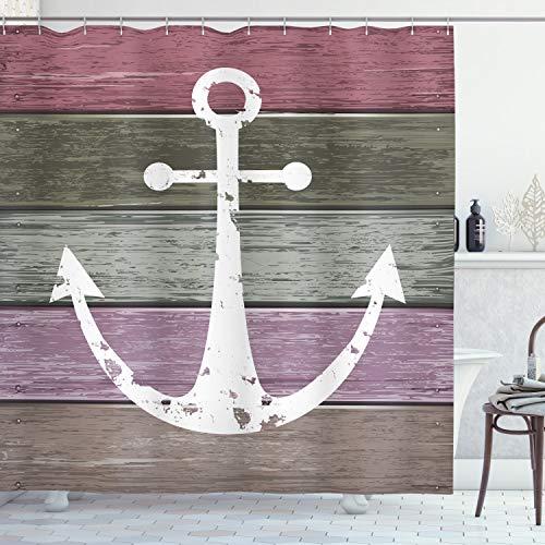Ambesonne - Cortina de ducha con diseño de ancla, color azul marino sobre tablones de madera desgastados, estilo rústico náutico, tela de tela de baño con ganchos