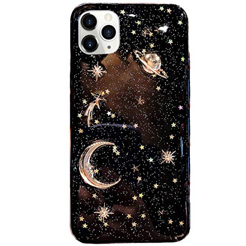 Bonitec for Apple iPhone 12 Pro Max Case 3D Bling Planet Glitter with Space Sparkle Moon Star Universe Flexible Soft TPU Protection Shockproof Protective Cases Cover Gold