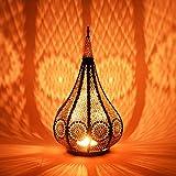 Lanterna portacandele orientale in metallo - Portacandele per giardino - Ezana Nero 36 cm - trasmettere una buona atmosfera - passare un buon momento in giardino