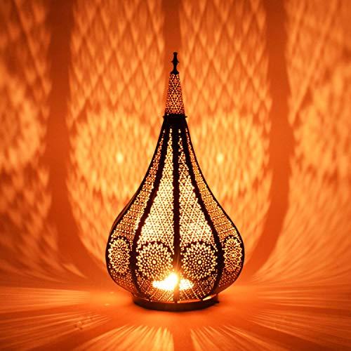 Orientalische Laterne aus Metall Ezana Schwarz 36cm | Marokkanische Gartenlaterne für draußen oder innen | Marokkanisches Orientalisches Windlicht Gartenwindlicht hängend oder zum hinstellen