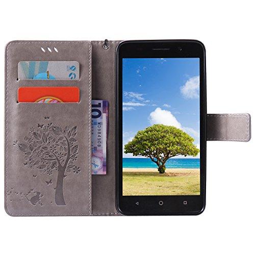 Kompatibel mit Huawei Honor 4X Hülle,Huawei Honor 4X Schutzhülle,Prägung Katze Schmetterlings Blumen PU Lederhülle Flip Hülle Handyhülle Ständer Tasche Wallet Case Schutzhülle für Huawei Honor 4X,Grau - 3